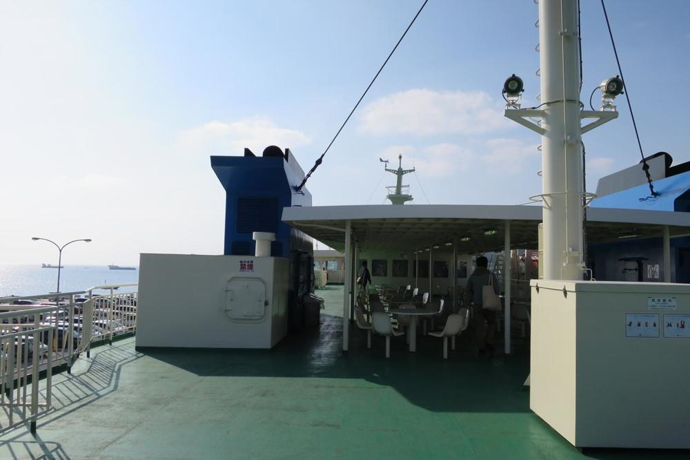 本部港から伊江島へ向かうフェリー「いえしま」の最上階デッキ。