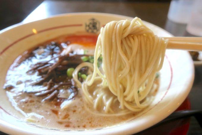 浦添「麺や偶 もとなり 牧港店」赤もとなり(800円)のパツパツ食感な細ストレート麺。