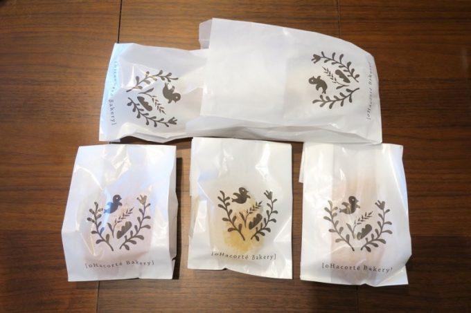 パンの包装紙にもオハコルテのロゴ。かわいい。
