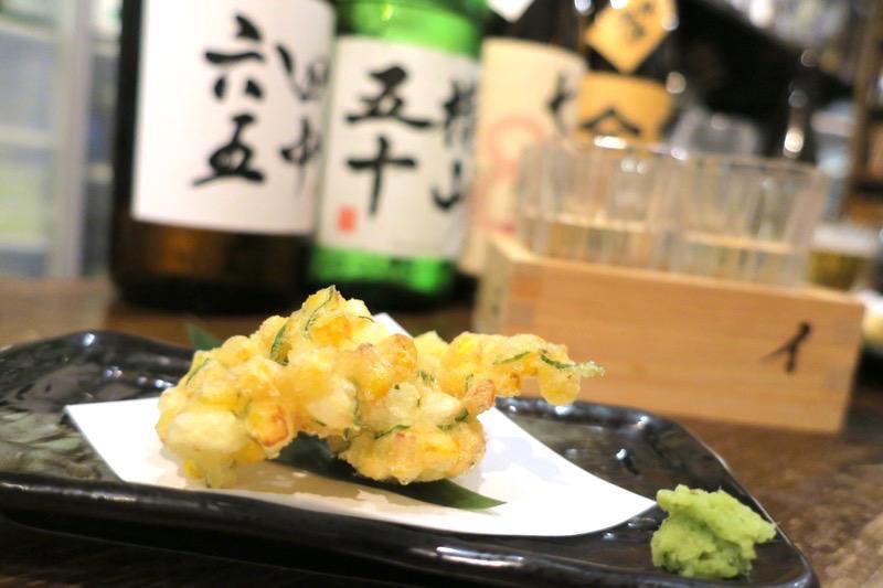 那覇・久茂地「きち屋」モロコシと山芋のかき揚げ(480円)