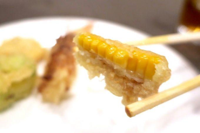 このトウモロコシの天ぷらも実にウマい。