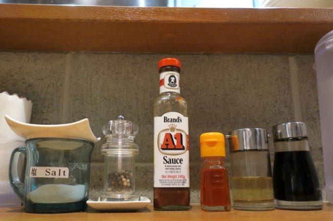 ラーメン店では珍しく、卓上調味料にA1ソース