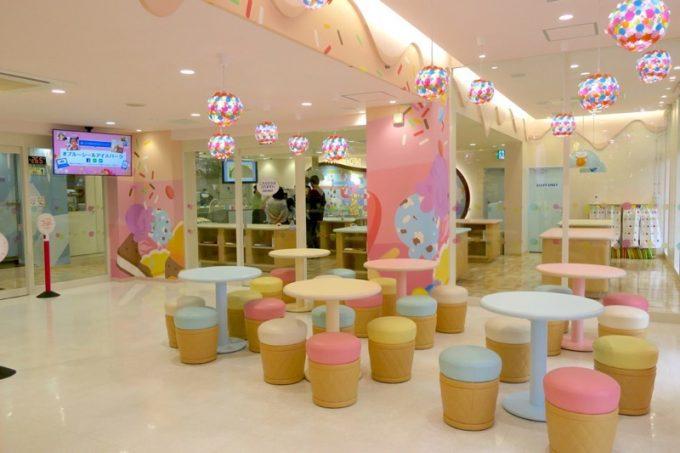 浦添のブルーシールには、体験型ミュージアム「アイスパーク」が併設されている。