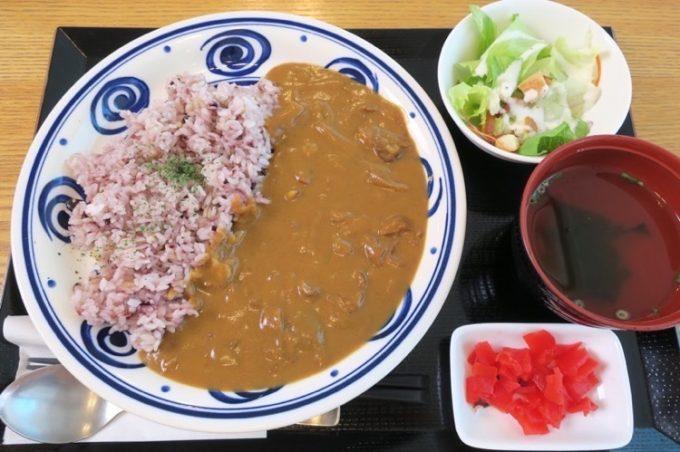 レッドカレー(650円)。雑穀米と白米が選べる。