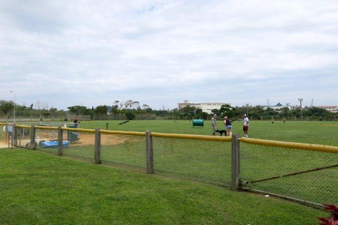 「知花ゴルフコース」には広々としたドッグランもあるのだ。
