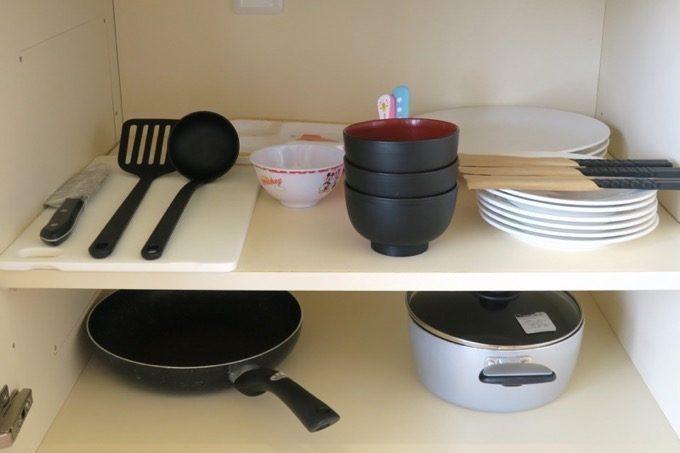 食器類・料理器具類の貸し出しは無料サービスだ。
