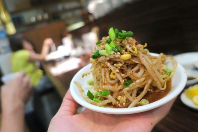 「アジア麺 樹」のピリ辛豆もやしナムル(220円)
