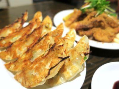 「アジア麵 樹」の焼き餃子2人前(1人前5こ、300円)とイカゲソの山椒揚げ(480円)