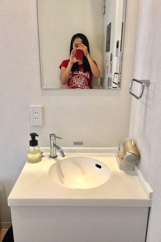 シングルルームの洗面台。
