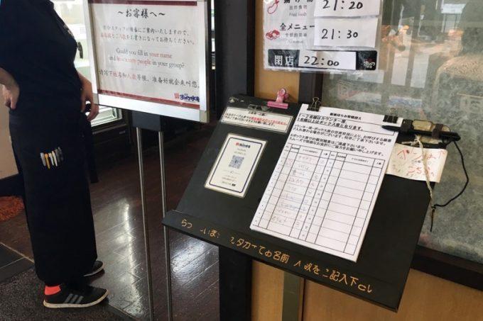 人気の回転寿司だけあって、入り口には受付リストがあった。