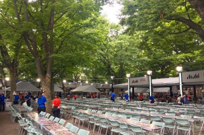2017年の「さっぽろ大通ビアガーデン」アサヒビール会場