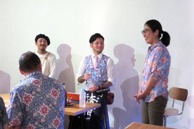 TimelessChocolate代表の林さん、泡盛倉庫店長の比嘉さん、ファシリテーターとして利酒師の沼田さんが登壇。
