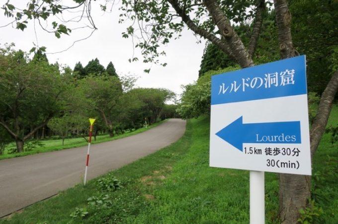 ルルドは駐車場から1.5km先、徒歩で30分ほどの場所にあるらしい。