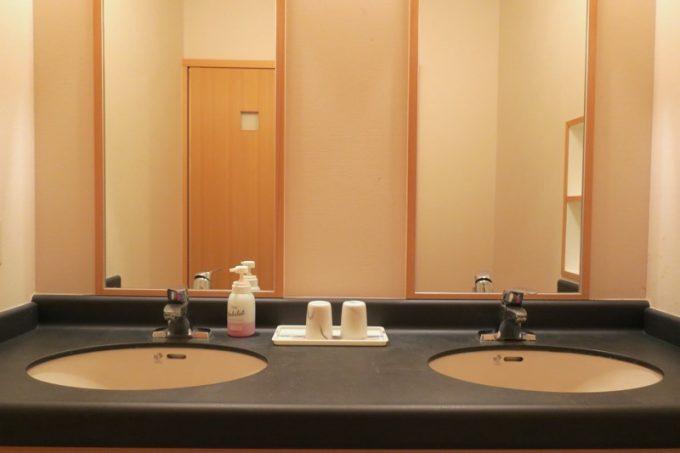 洗面台は2つあるので、大人数で滞在しても混み合わないだろう。