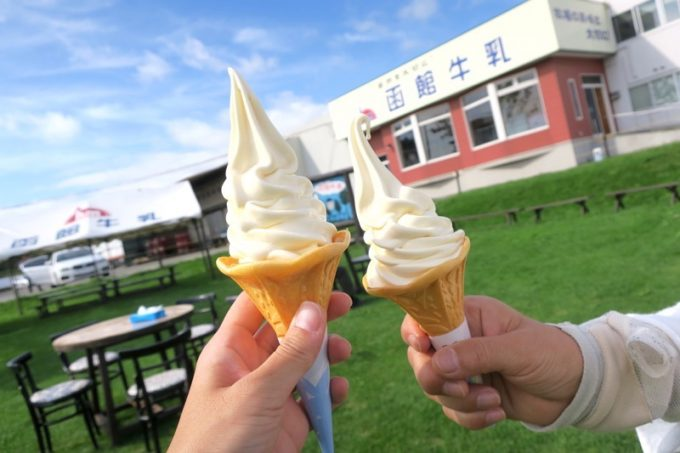 函館牛乳のソフトクリームは黄色がかり、コクが強い。卵をつかっているからだ。