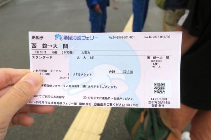 チケットを車輛乗船口のスタッフに見せる。