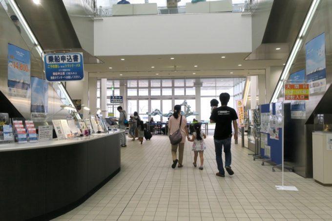 平日だが、お盆が近いので函館フェリーターミナルの中に人がいた。
