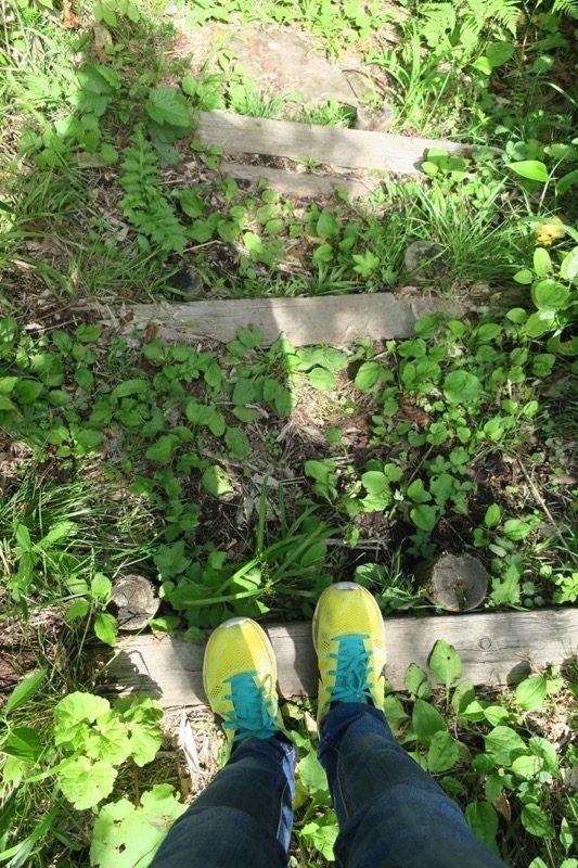 階段がわかりにくく、足場が不安定。