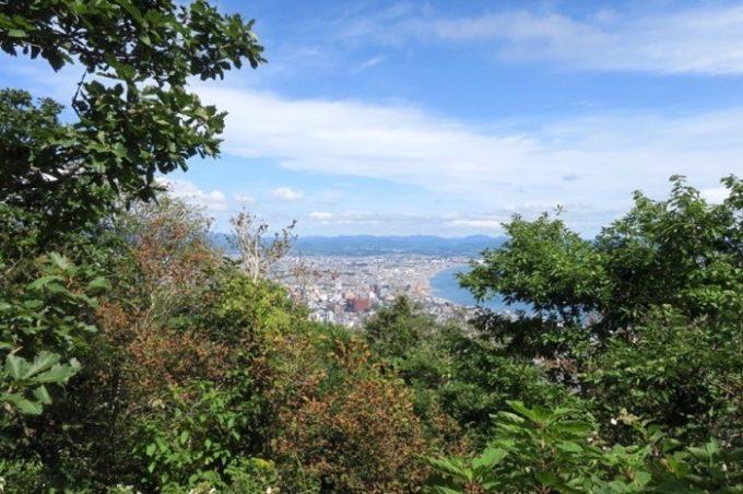 頂上からの眺めとは一味違う函館市街地の眺め。
