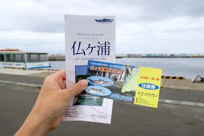 仏ヶ浦観光船のチケットとパンフレットをゲット。