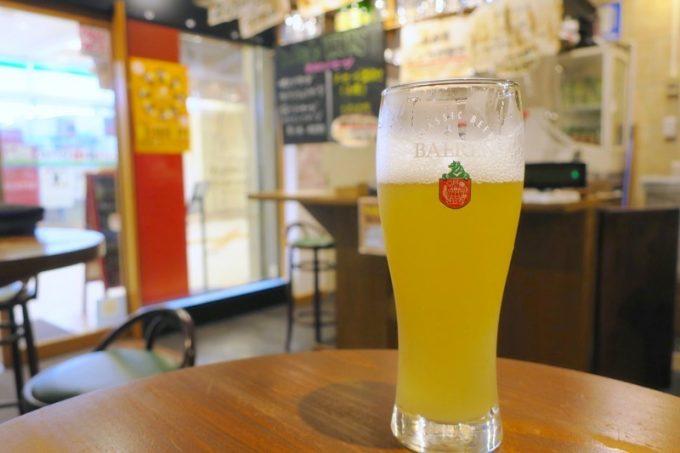 ベアレン醸造所の季節限定、無糖ラードラー(グラス、500円)