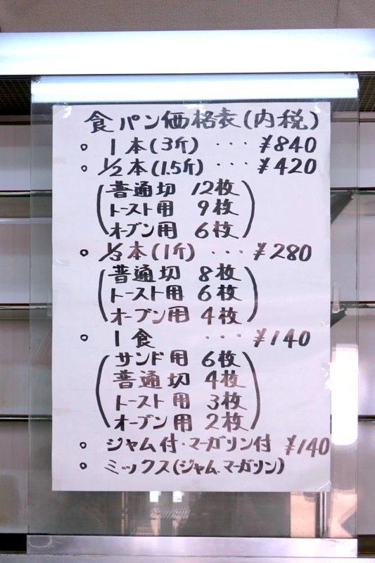 食パンの価格表。