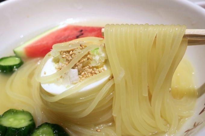 ツルツルシコシコモチモチとした食感が命の盛岡冷麺。