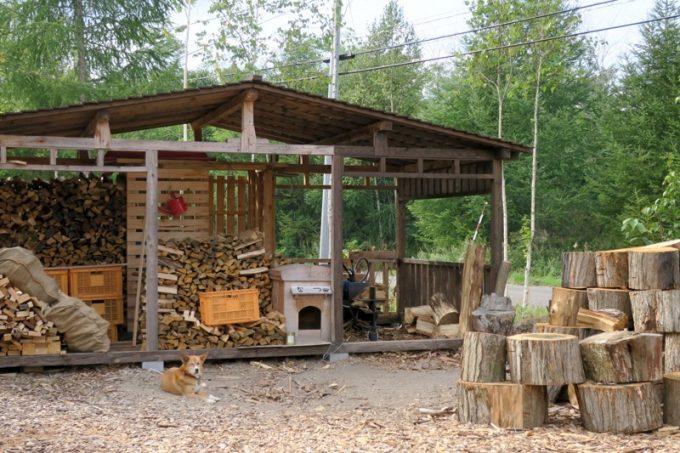 パンを焼く際に使う薪が出ていた。