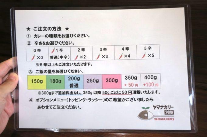 那覇「ヤマナカリー別邸」カレーの辛さと、ご飯の量を選べるのが嬉しい。