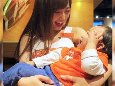 福岡のフーターズガールとお子サマー。