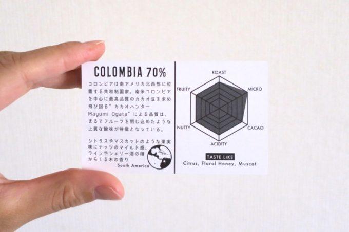 コロンビア70%のカード。