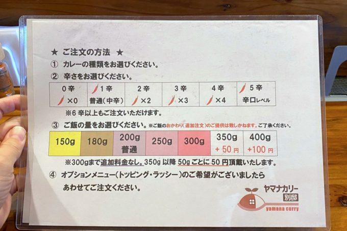 那覇・泊「ヤマナカリー別邸」のメニュー裏面(2020年1月)