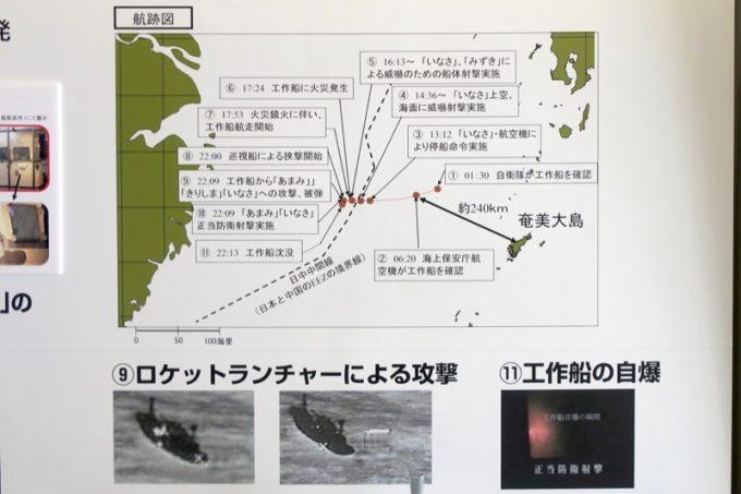 工作船の航跡図。