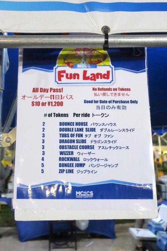 「キャンプキンザーフェスティバル」のファンランドは10ドルまたは1200円。