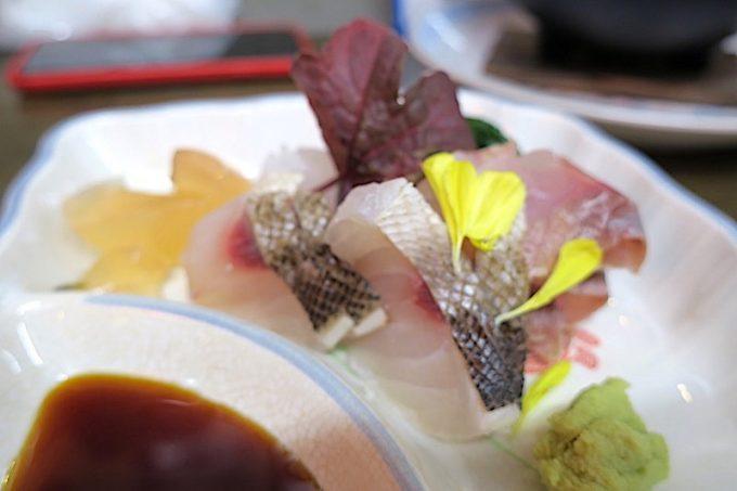 那覇「知花冷凍食品」の本日のお造り(3種、800円)