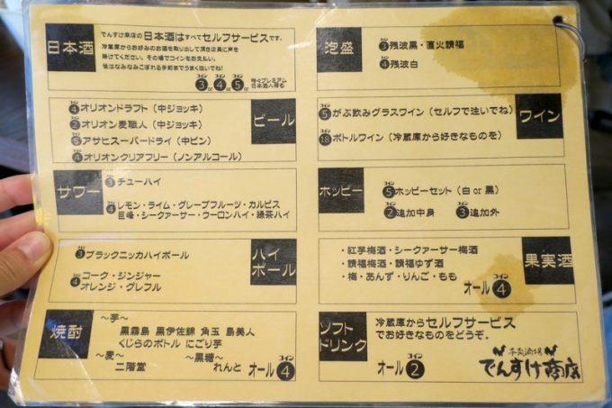 那覇・牧志「本気酒場 でんすけ商店」のメニュー表(その2)