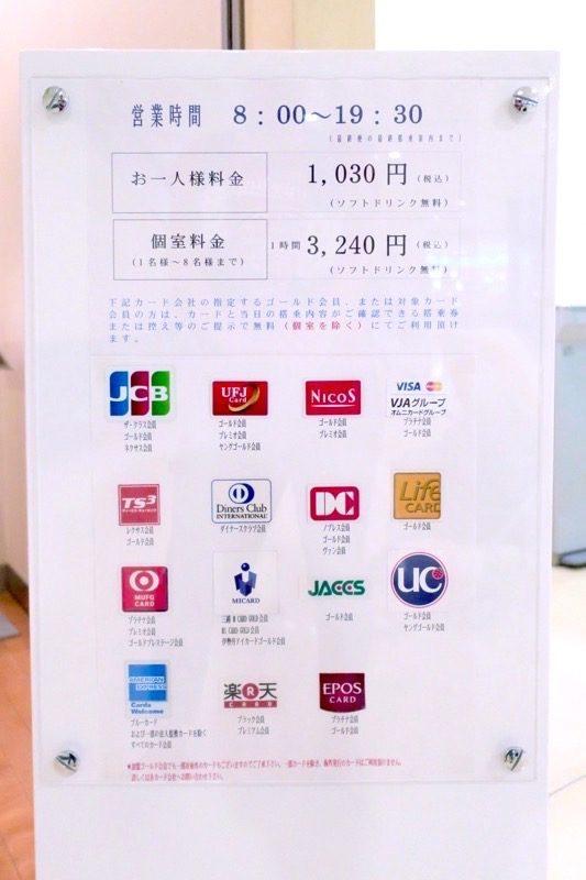 このラウンジに入れるカードの種類。カードがなければ現金1030円で入ることができる。