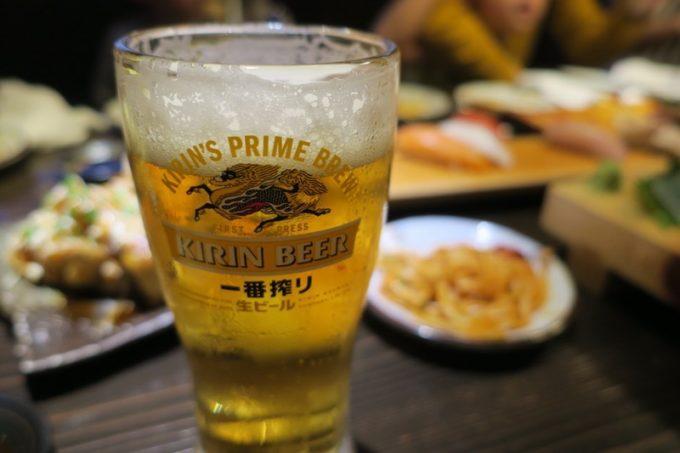 那覇・壺川「久兵衛」ビールはキリン淡麗(生)だった。