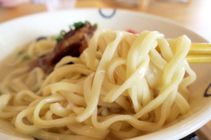 名護「真打 田仲そば」は生麺を使用。ツル・もち食感で、ボリュームがある。