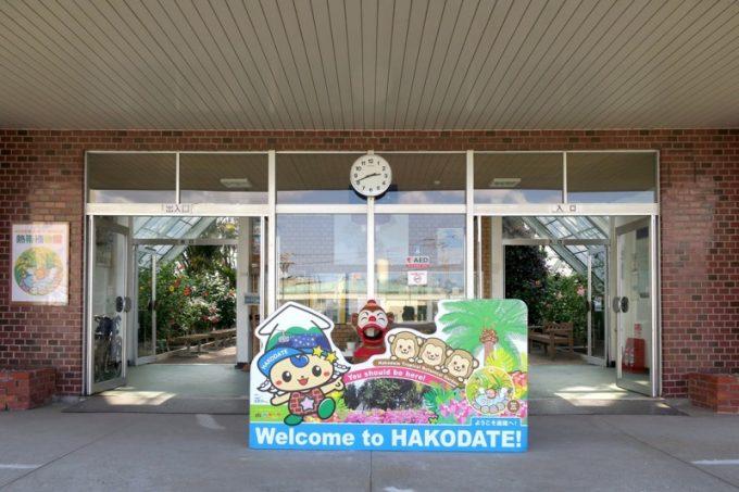 「函館市熱帯植物園」の温室前にはお猿さんの顔ハメ。