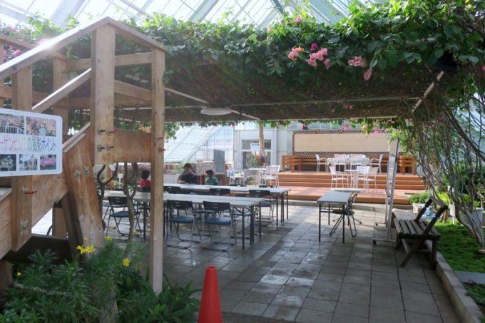 「函館市熱帯植物園」の休憩スペース。ここで飲食ができる。