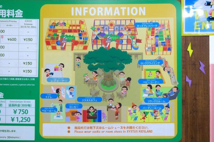 うるま市「ジスタスキッズランド」の施設マップ。