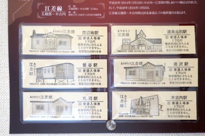 壁には江差線の切符が飾られていた。