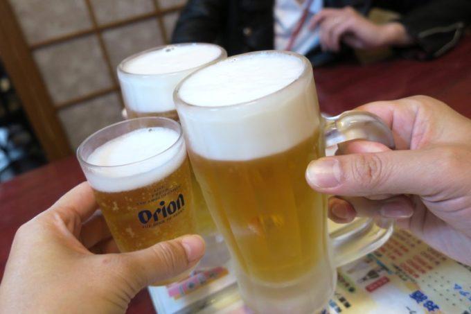 まずはビール(オリオン麦職人、400円)とノンアルビール(オリオンノンアルコールビール、350円)で乾杯。