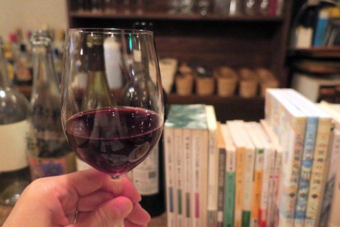 東北復興を願うワイン、Vin de Michinoku(グラス、600円)を「かぜまち軒」でいただく。