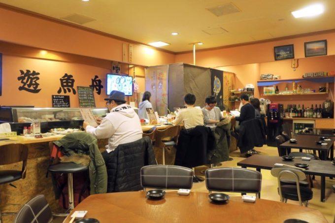 函館・大門「遊魚舟」の店内。