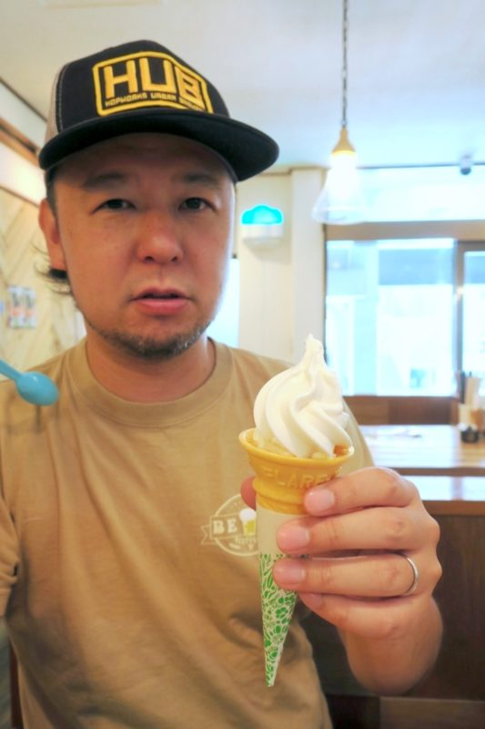 「中華そば ぬーじボンボン メンデス」のお子様中華そば(300円)のミニソフトクリーム。