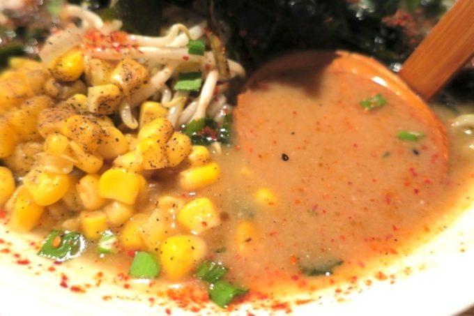天神味噌のスープ。濃厚だが後味がクドくない。