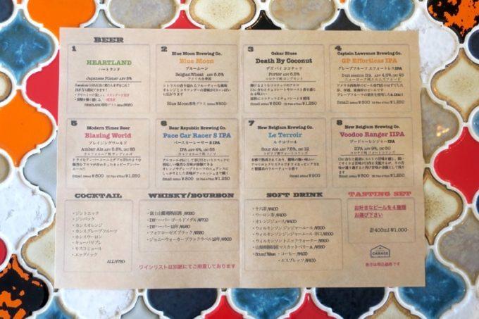 鎌倉・長谷「Kamakura GARAGE(カマクラガレージ)」のこの日のビールリスト。アメリカ西海岸のビールが多い。
