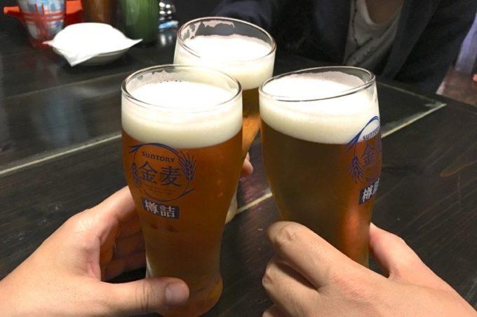 那覇・久米「功夫餃子」せんべろビールは金麦でした。